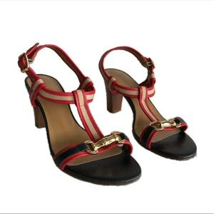 Talbots blue red t strap sandal heels 8.5